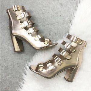 Breckelles Gold Buckle Super Strappy Heels